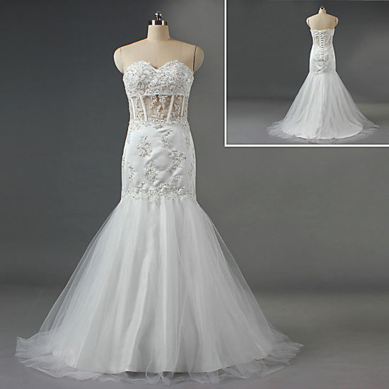 Sexy Lace Beaded Sheer Mermaid Wedding Dress Bridal Gown
