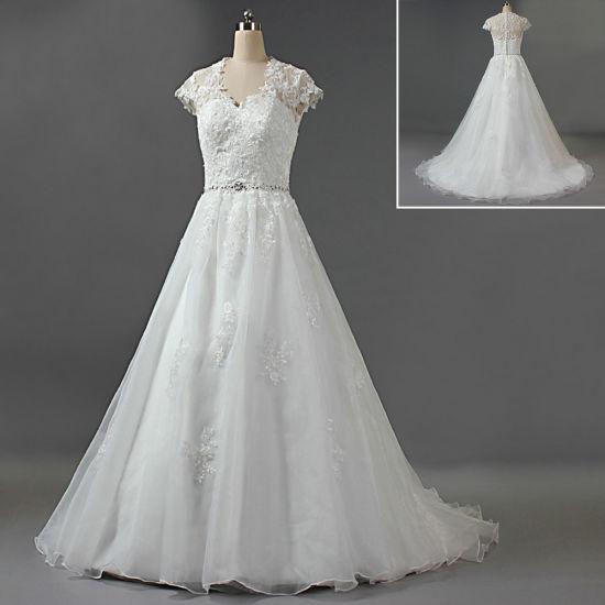 2019 V Neck Cap Sleeve Wedding Dresses Lace Appliques Organza Bridal Gown W146