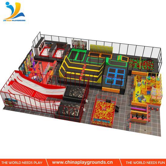 Wholesale Children Games Square Trampoline Park Ninja Warrior Trampoline Park