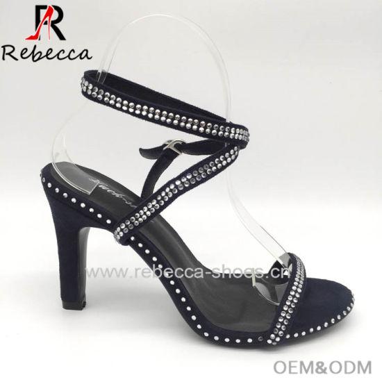 309b3c1cdffa80 China Lady Sandals with Rhinestone Stilettos Ankle Strap Shoes ...