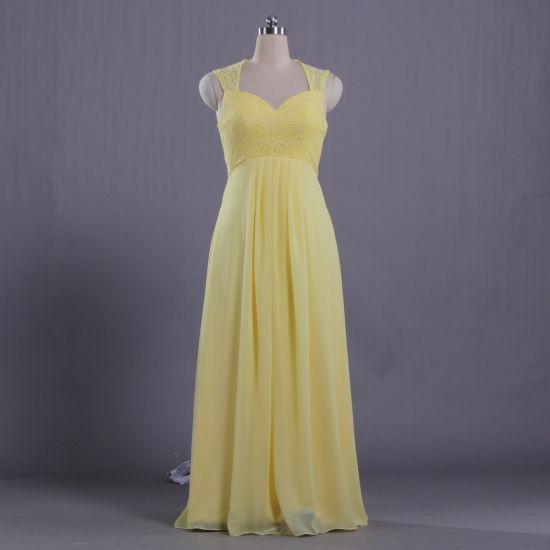 E606 Juniors Cap Sleeve Lace Chiffon Yellow Evening Dresses Gown