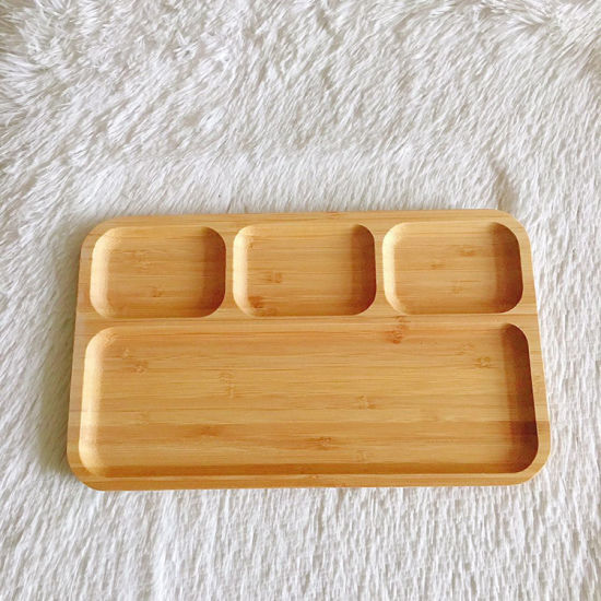 Factory Price Bamboo Serving Plate Food Divide Plate for Table