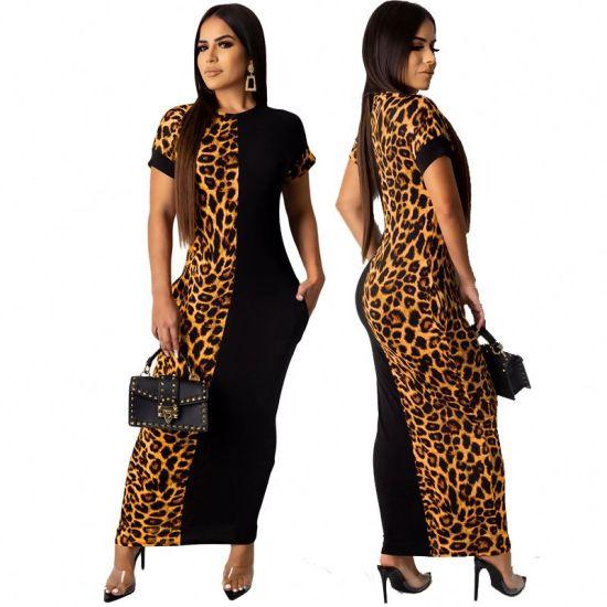 Xqm High Quality Sexy Women Half Cheetah Leopard Print Maxi Bodycon Dress