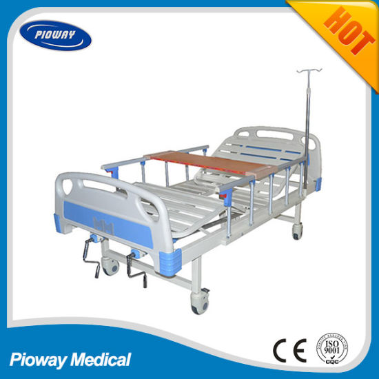 ICU ABS Hospital Bed, One or Two Crank Manual Patient Bed, Mattress, Castor, IV Pole, Dinner Table, Guardrail Optional (PW-B02)