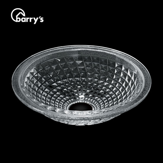 China Modern Top Clear Colored Bathroom Vessel Tempered Glass Wash Hand Basin Round Sink China Clear Round Basin Crystal Sink