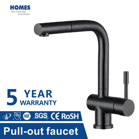 New Zealand Single Handle Pull-out Kitchen Tap in New Design Hot and Cold Black Faucet