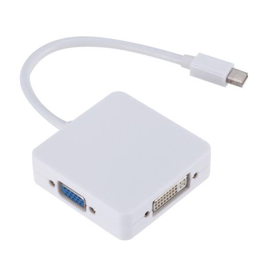 DisplayPort White Thunderbolt to HDMI//DVI//VGA Male to Female 3-in-1 Adapter
