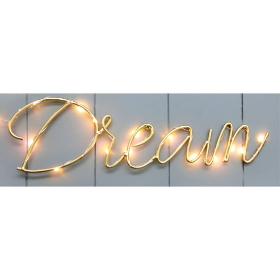 Wire Letter Dream with LED 35X10cm Home Decor Craft, Home Decoration, Home Decor, Metal Art