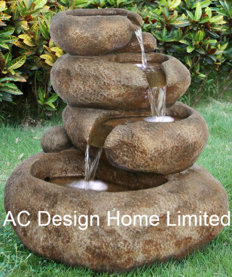 Decorative Rock Look Polyresin Outdoor Garden Water Fountain W/LED Light