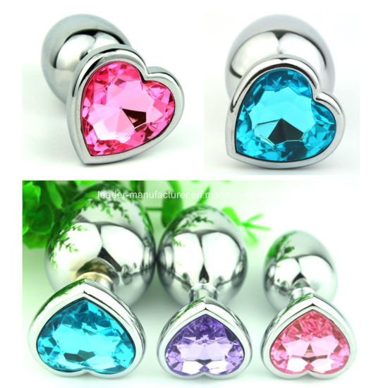 Golden/ Silver Stainless Steel Heart Anal Plug Jewelled Butt Plug pictures & photos