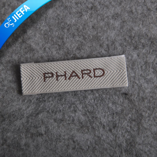 New Fashion Custom 4cm*7cm Stain Woven Label for Clothing pictures & photos