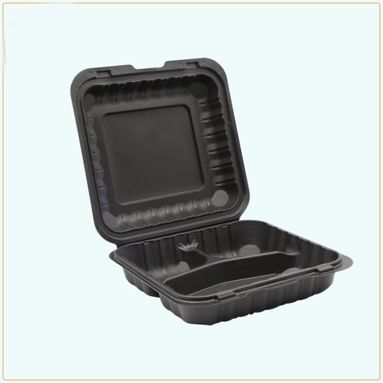 biodegradable disposable 3 compartment clamshell food containers