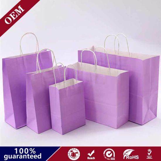 Brown Kraft Paper Custom Printed Luxury Retail Paper Shopping Bag with Cheap Price Paper Bag Colour Bags Supplier