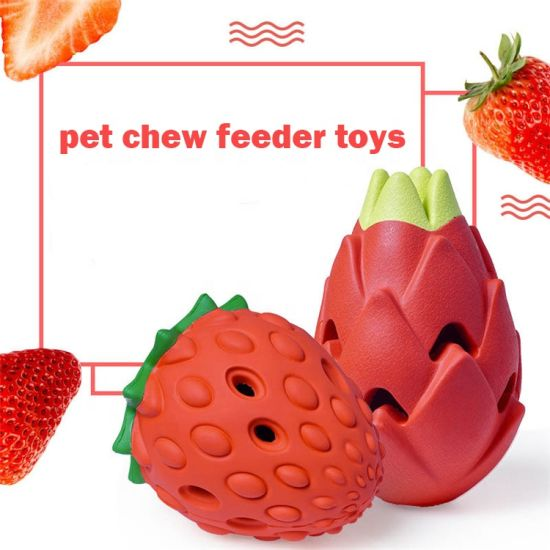 New Arrival Pet Toys Fruit Strawberry and Pitaya Chew Feeder Dog Toys/Pet Toy