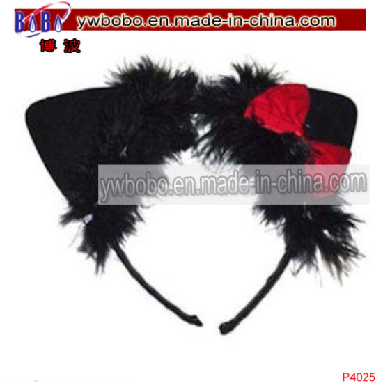 Cat Bow Marabou Fancy Dress Headband Hair Jewelry Accessories (P4025) pictures & photos