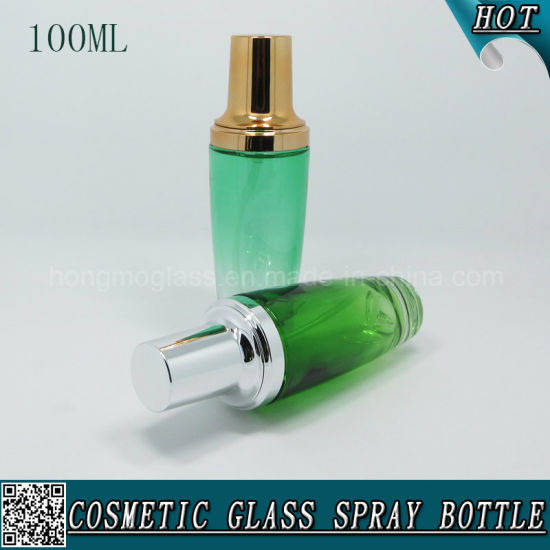 100ml Green Color Spraying Cosmetic Glass Lotion Pump Bottle pictures & photos