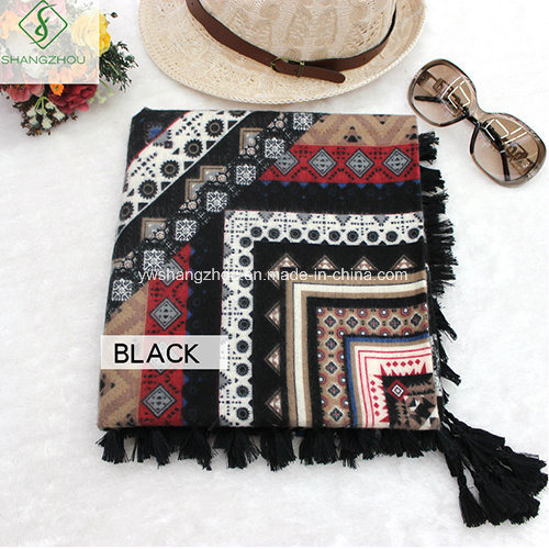 Fashion Scarf National Style with Tassel Twill Cotton Square Shawl