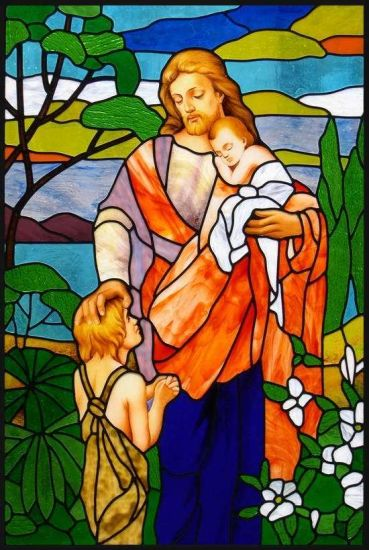 Art Stained Glass Church Windows & Panels Jesus with Kids