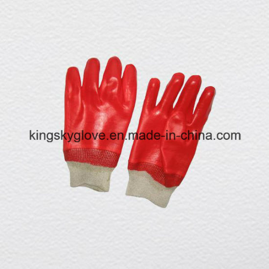 Red PVC Coated Knitting Cuff Work Glove-5118 pictures & photos