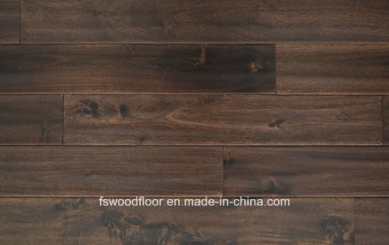 [Hot Item] Handscraped Dark Walnut Stain Long Leaf Acaica Hardwood Flooring