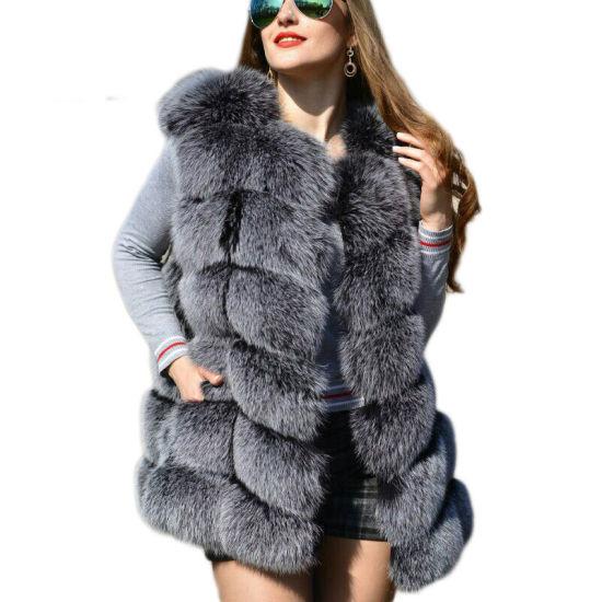 Faux Sliver Fox Fur Vest Winter Artifical Fox Fur Vests Woman Warm Fake Fox Fur Coats