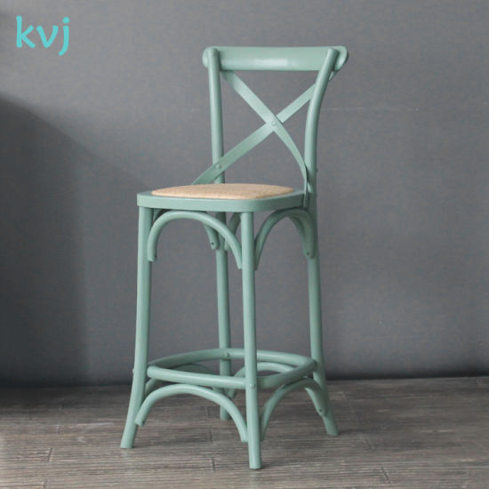 Pleasing Light Green Antique Nordic Cross Back Wooden Bar Stool Dc Uwap Interior Chair Design Uwaporg