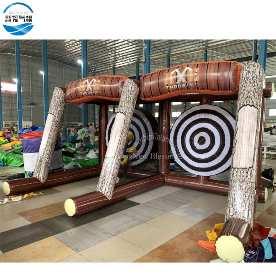 New Blessing Carnival Inflatable Axe Throw Dart Game for Sale, Axe Throwing Double Lane Inflatable Sport Game Axes Toy pictures & photos