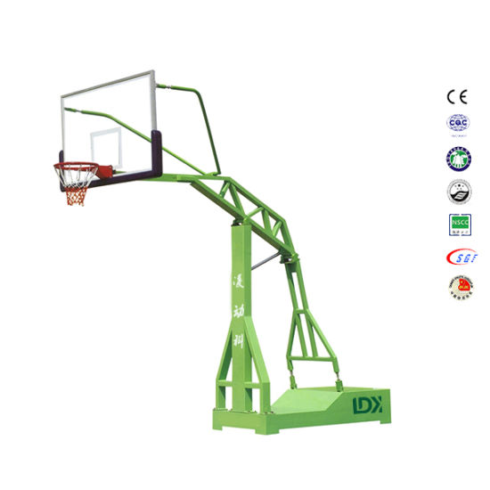 Outside Moveable Steel	Base	with	Tempered Glass Basketball Stand
