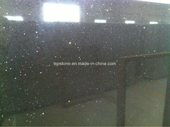 Black Spackle/ Crystal Black/ Black Galaxy Artificial Quartz Slab pictures & photos