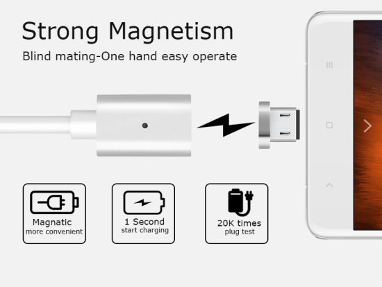 Magnet USB Phone Cable for Samsung iPhone 8pin pictures & photos