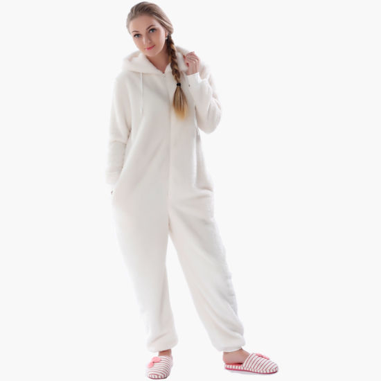 FLUFFY FLEECE ANIMAL HOODED WOMENS ADULTS  ALL IN ONE JUMPSUIT