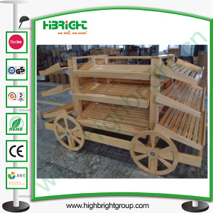 Store Supermarket Wooden Bread Display Stand Carriage pictures & photos