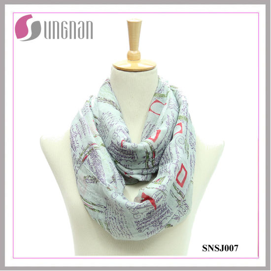 Eiffel Tower Printed Voile Fashionable Infinity Scarf (SNSJ007)