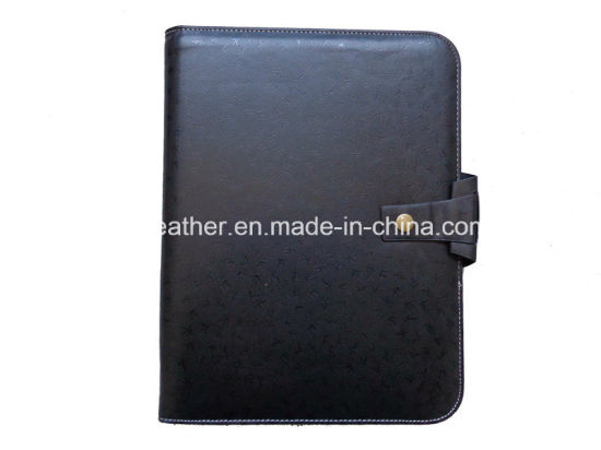 Personalized Black PU Presentation Folder with Fastener pictures & photos