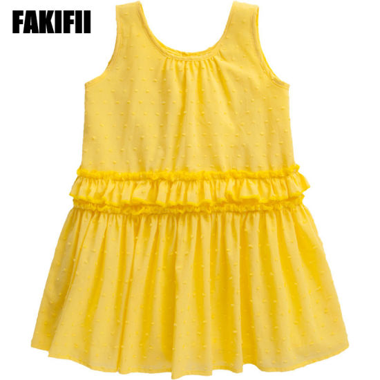 China Factory Customised Baby Wear Children Clothing Summer Girl Yellow Cotton Ruffle Dress Fashion Style Apparel