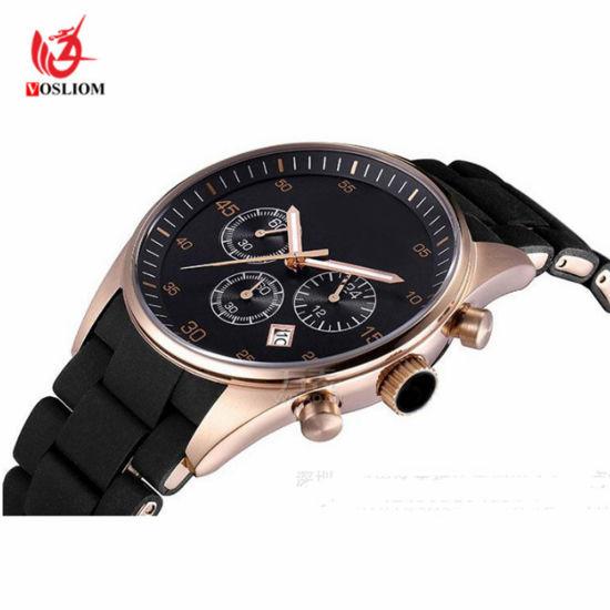 Cheap Price Zinc Alloy Case Silicone Belt Men Business Wrist Quartz Watches  -V144