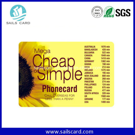 300 GSM Art Paper Phone Card with Security Scratch Panel pictures & photos