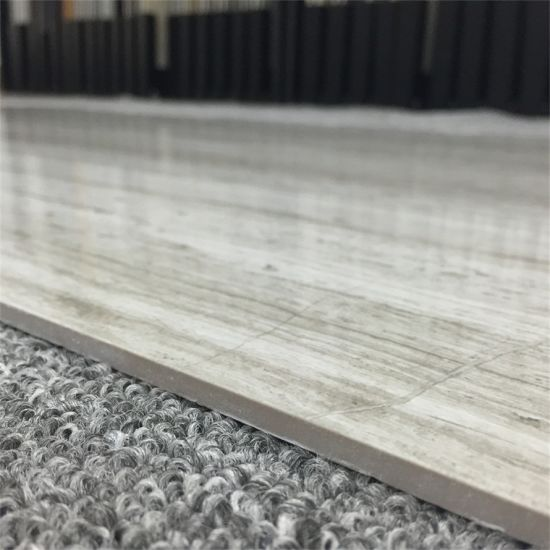 China Polished Porcelain Thin Tile Line Stone Design Gray Color ...