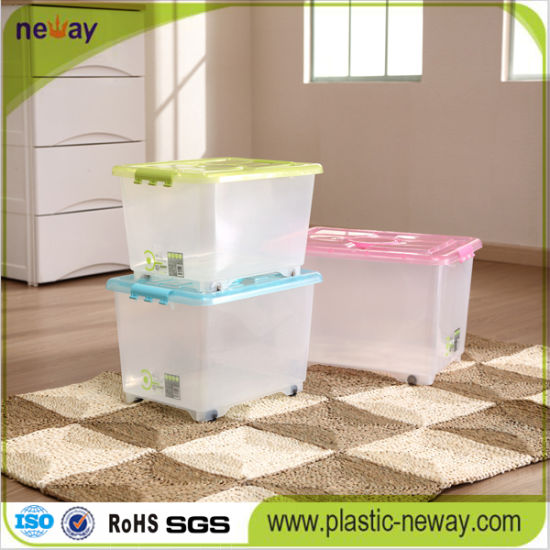Transparent Plastic Storage Box with Wheels pictures & photos