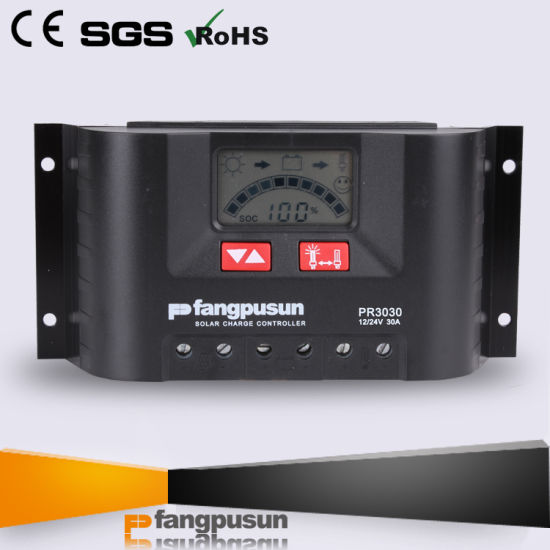PWM Control LCD Display 12V 24V Intelligent Hybrid Solar Controller 30A pictures & photos