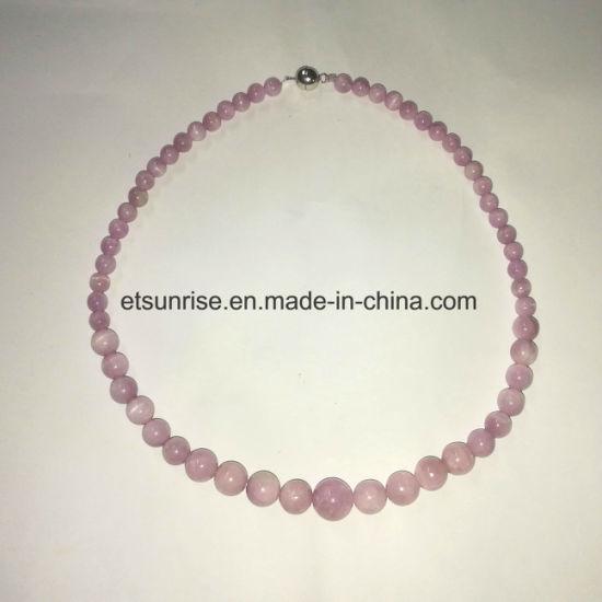 Semi Precious Stone 925 Silver fashion Kunzite Bead Jewelry Necklace