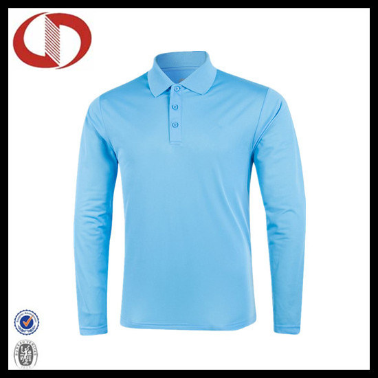 100% Polyester Long Sleeve Pique Polo Shirt for Men
