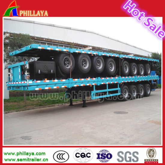 20FT 40FT Semi Skeletal/ Flat Bed Trailer for Containers Transport pictures & photos