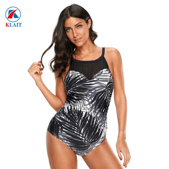 ae17df626eb75 2019 Sexy High Neck One Piece Black Mesh Cutout Print Beach Ladies Maillot  Swimsuit