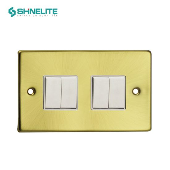 Hot Sales 4 Gang 1 Way Stainless Steel UK Switch OEM
