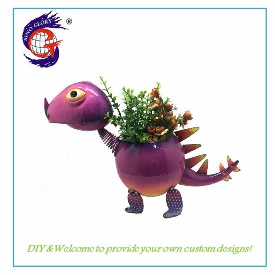Metal Colour Dinosaur Garden Decoration Plant Pot