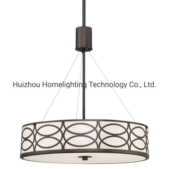 Jlp-37702 Metal Caged Drum 3-Light Pendant Hanging Chandelier Lamp with Glass Diffuser