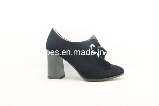 New Comfort Block High Heel Leather Women Shoe