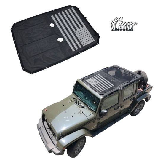 Sun Shade UV Protection Mesh Top Cover For Jeep Wrangler JK 2//4 Door 2007-2017