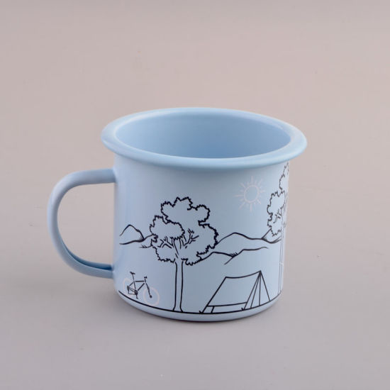 High Quality Sky Blue Simple Design Enamel Mug Coffee Mug pictures & photos